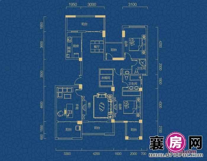 迅邦檀溪公馆A2-1户型3室2厅2卫1厨 152.77㎡