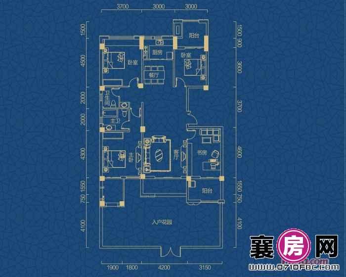 迅邦檀溪公馆B1户型4室2厅2卫1厨 159.86㎡