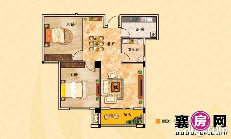 华盛滨江御景C户型2室2厅2卫1厨 93.64㎡