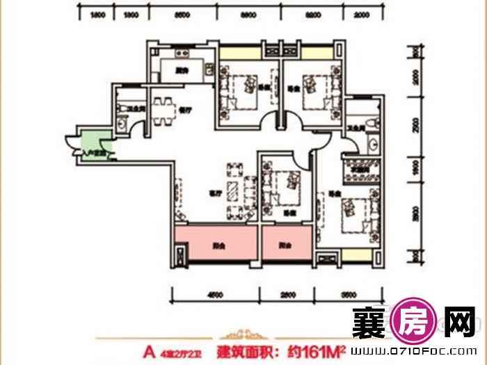 泰禾新景户型图2#A户型 4室2厅面积:161.00㎡
