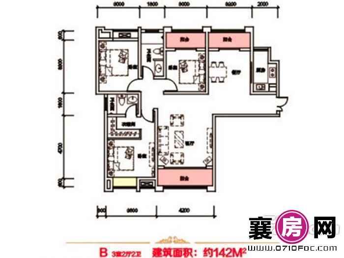 泰禾新景户型图4#B户型 3室2厅面积:142.00㎡