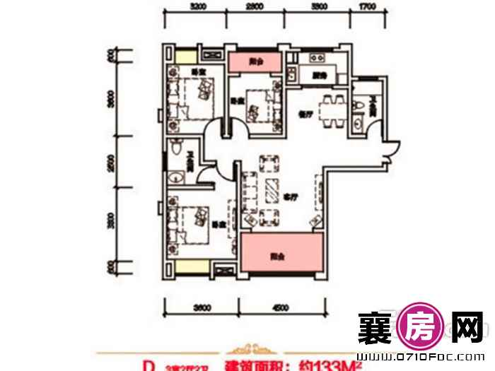 泰禾新景户型图2#3#4#F户型 3室面积:108.00㎡