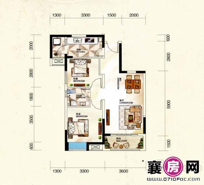 居       室:2室2厅1卫1厨