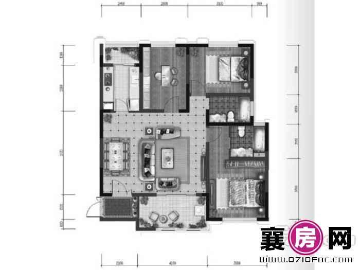 A1户型3室2厅1卫1厨