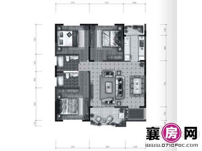 B1户型3室2厅2卫1厨