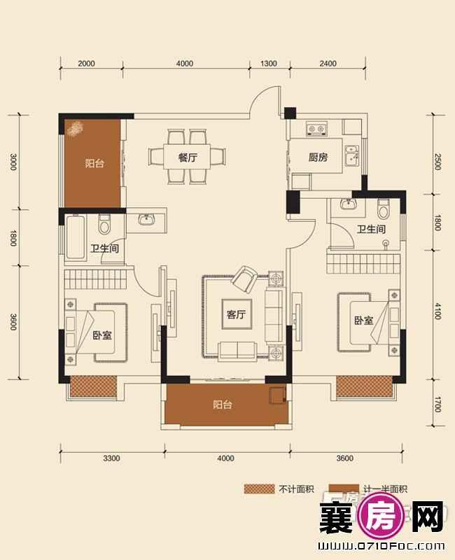 二期B地块5#朝南G2H2户型2室2厅2卫1厨