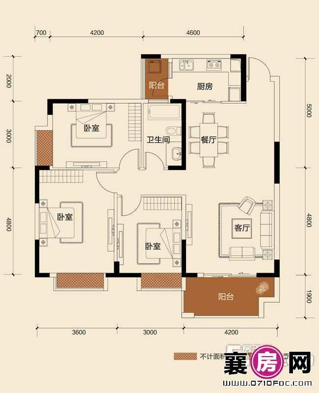 二期B地块8#朝南J2户型3室2厅1卫1厨