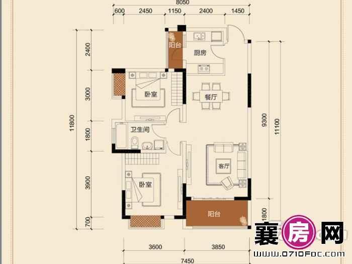 二期B地块8#朝南B3-01户型2室2厅1卫1厨