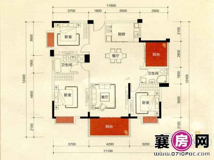 二期C地块D2户型3室2厅2卫1厨