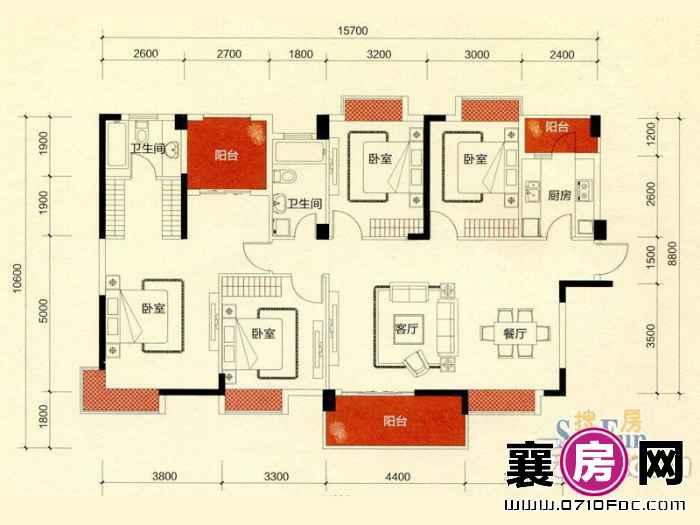 二期C地块锦都汇8#朝南F1户型 4室2厅2卫1厨
