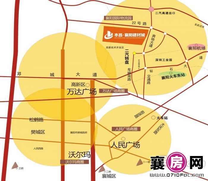 襄阳本昌建材城交通图