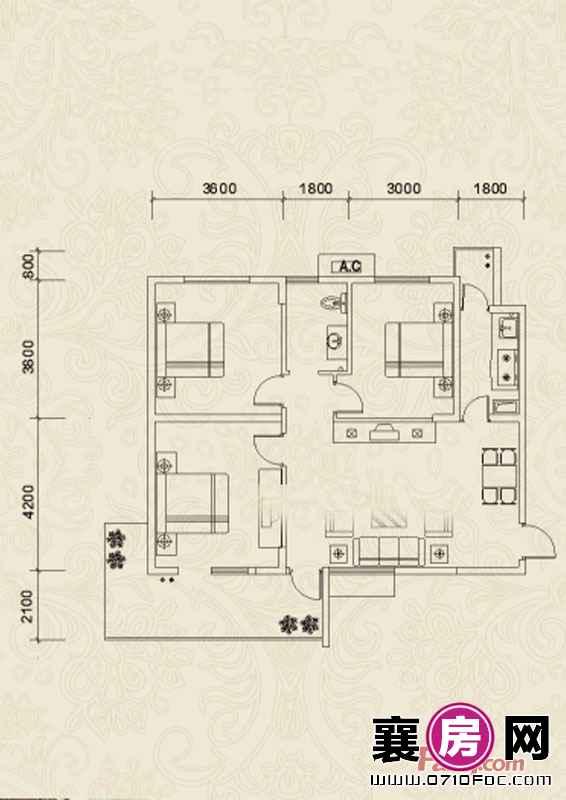 A1户型3室2厅1卫0厨
