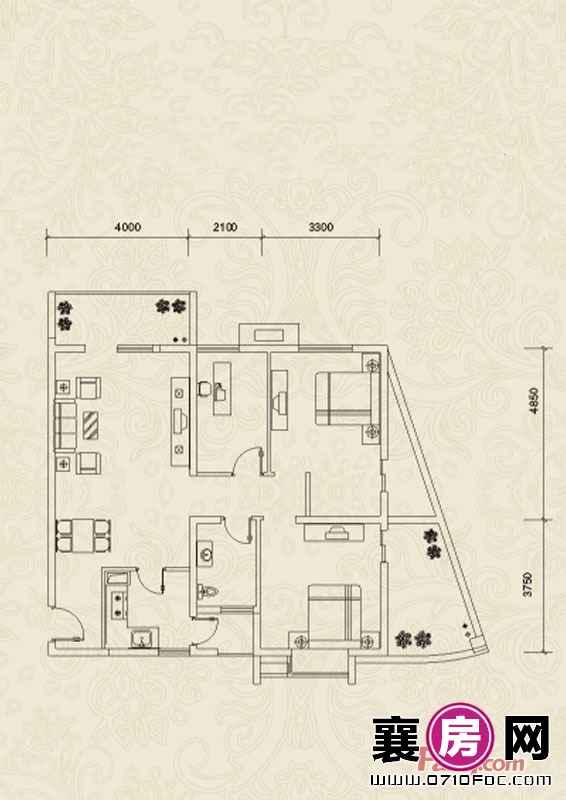 A2户型3室2厅1卫0厨