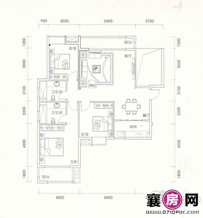 13#楼南北通透J户型3室2厅2卫1厨