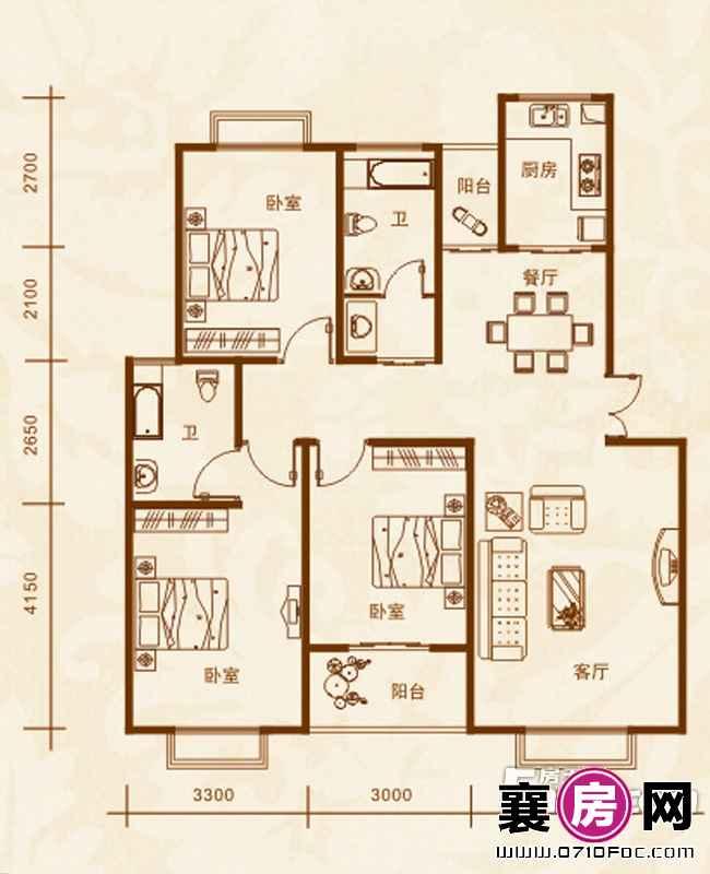 3#楼A户型3室2厅2卫1厨
