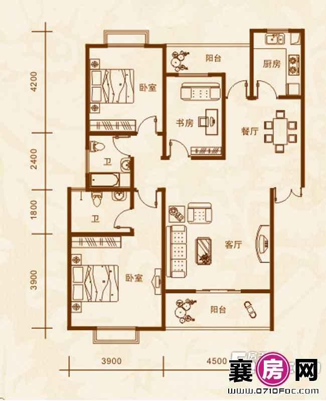 4#、12#楼A户型3室2厅2卫1厨