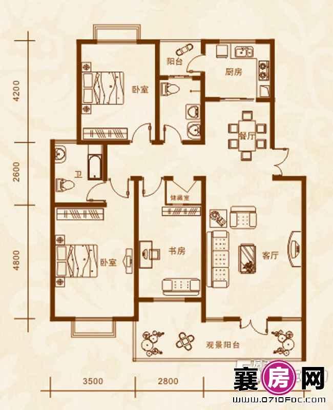 5#楼A户型3室2厅2卫1厨