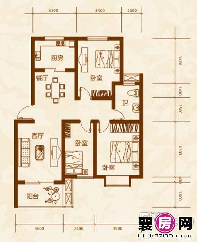 8#楼E2户型3室2厅1卫1厨