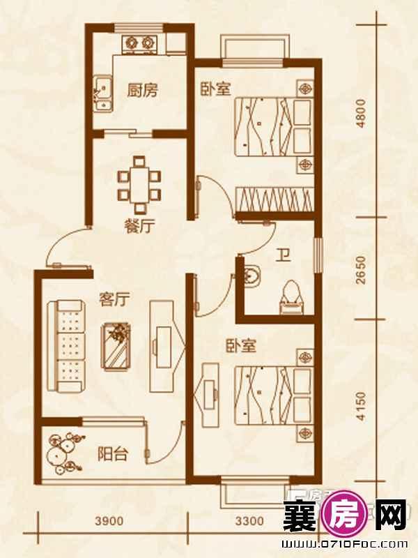 10#楼A户型2室2厅1卫1厨
