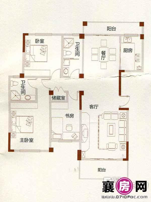 A1户型3室2厅2卫1厨