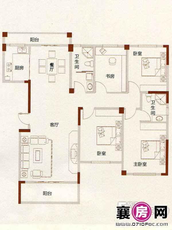 A4户型4室2厅2卫1厨
