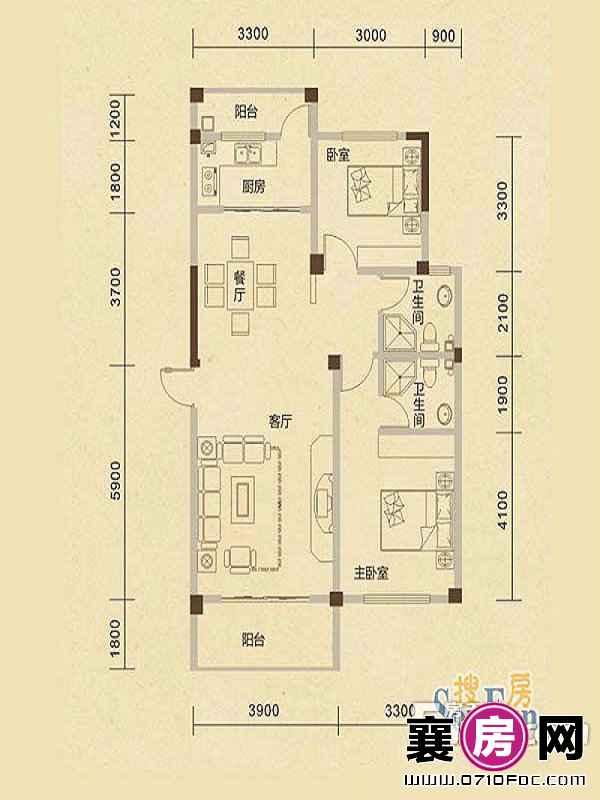 B2户型2室2厅2卫1厨
