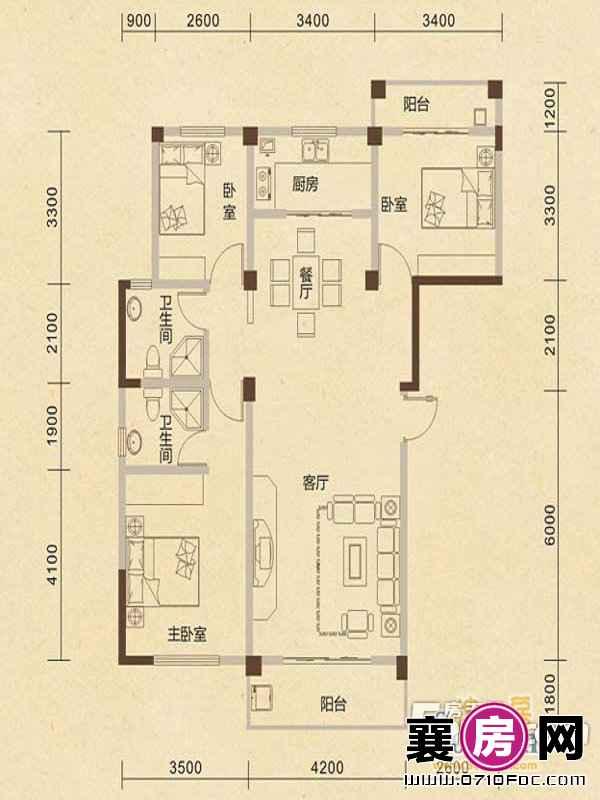 B3户型3室2厅2卫1厨