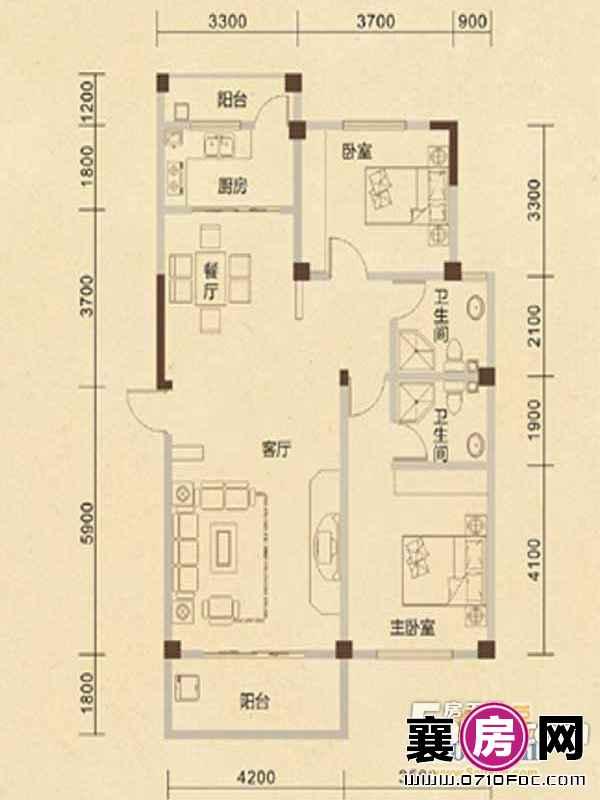B8户型2室2厅2卫1厨