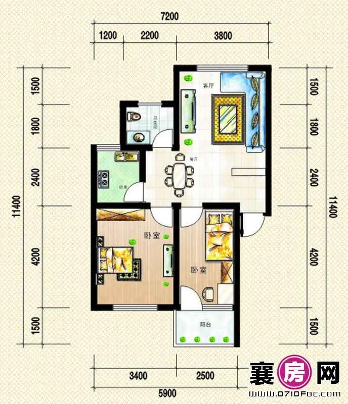 1号楼左单元 南北朝向A户型2室2厅1卫1厨