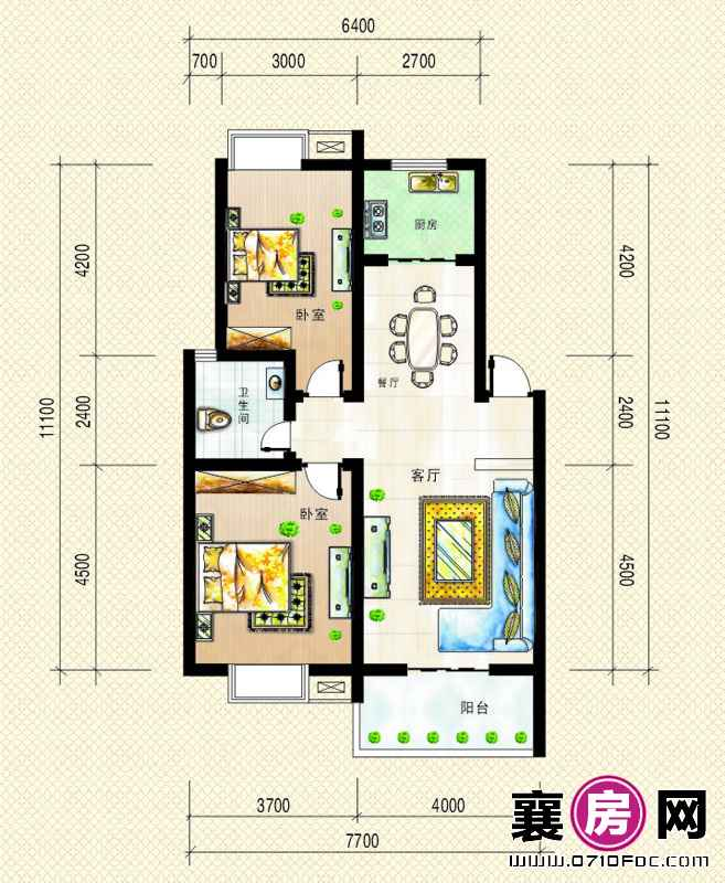 2号楼、5号楼 南北朝向C户型2室2厅1卫1厨