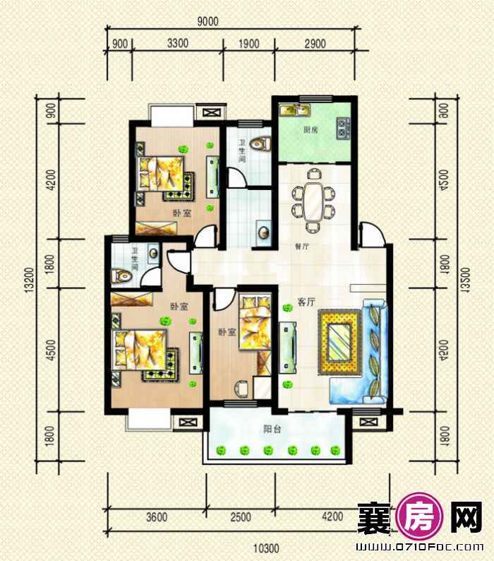 3号楼、6号楼南北朝向D户型3室2厅2卫1厨