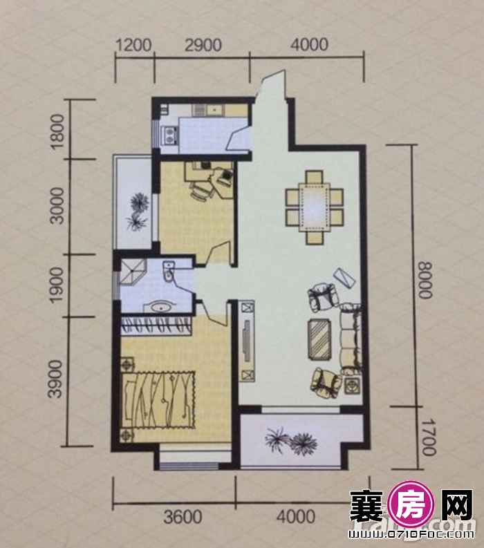 5#楼朝南两房户型