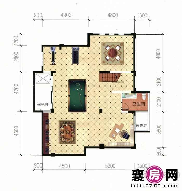 别墅V1三层平面图