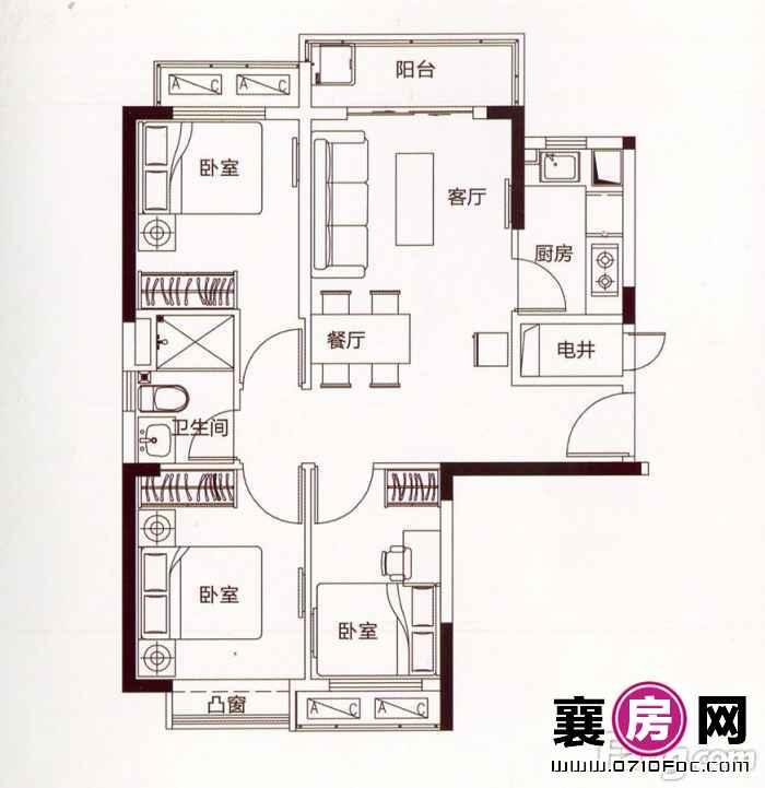 二期26#公寓楼二单元6户型