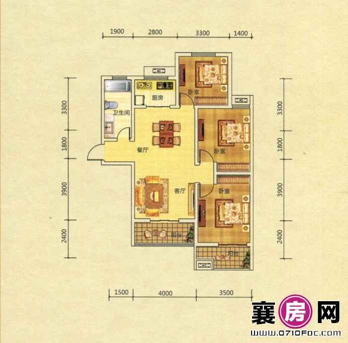 10#13#楼 A2户型 3室2厅1卫1厨