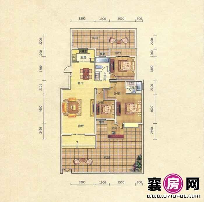 D1户型 4室2厅2卫1厨