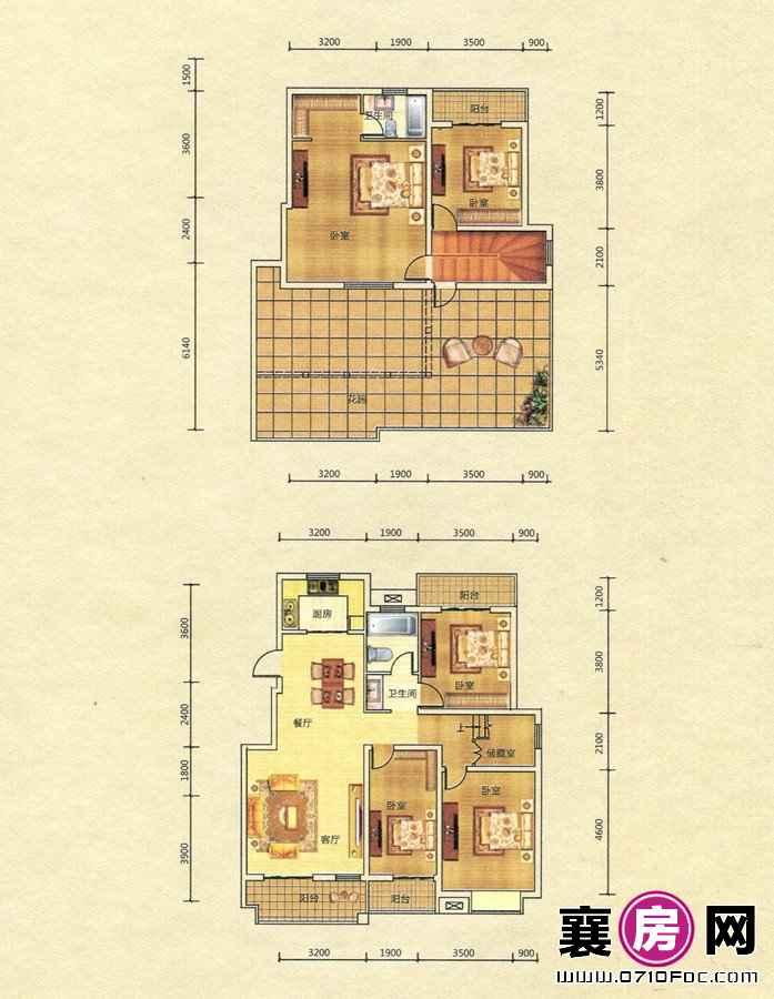 梧桐湾D3户型复式结构 5室2厅2卫1厨