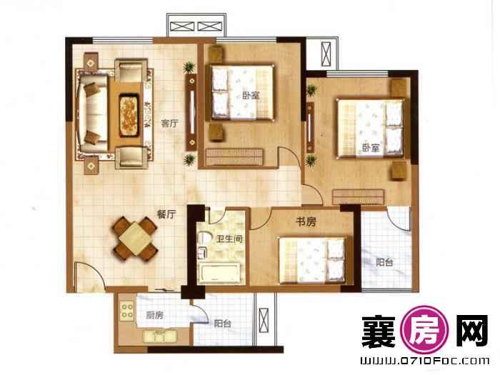 汉水华城朝南A5户型 3室2厅1卫1厨