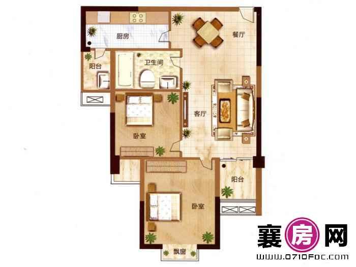 汉水华城朝南B户型 2室2厅1卫1厨