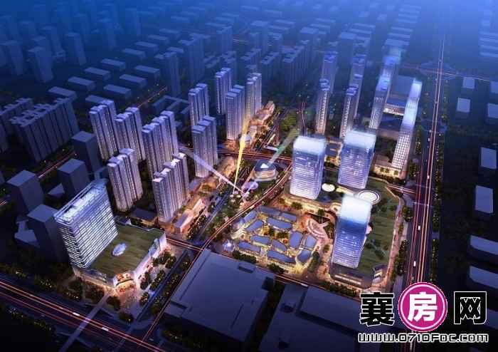汉水华城夜景鸟瞰图