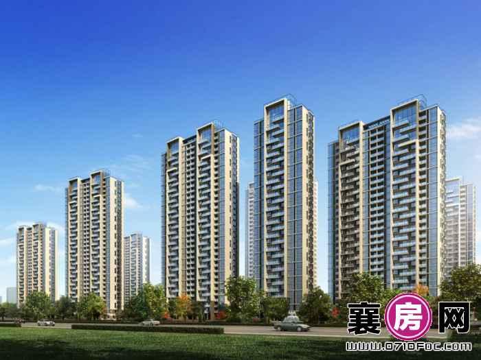 汉水华城住宅南侧透视图