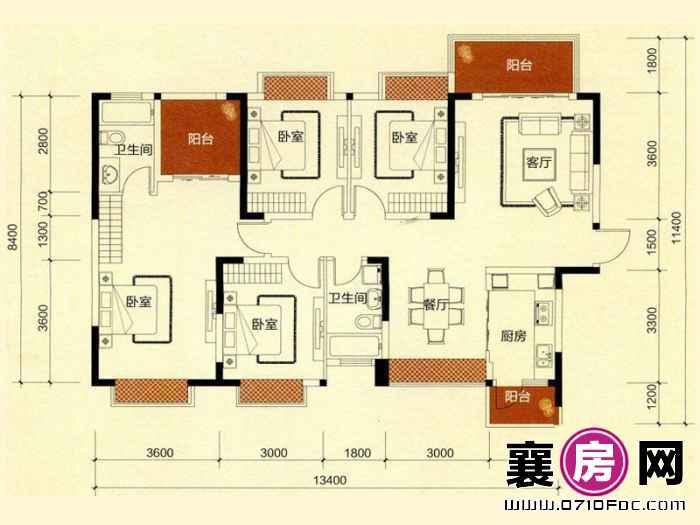 二期C地块C1户型 4室2厅2卫1厨