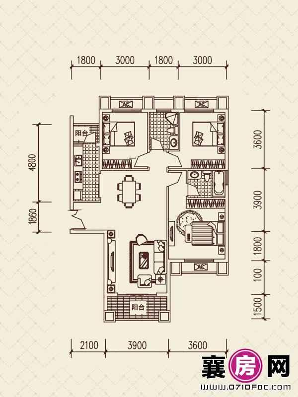 百洋·欧典H2户型 3室2厅