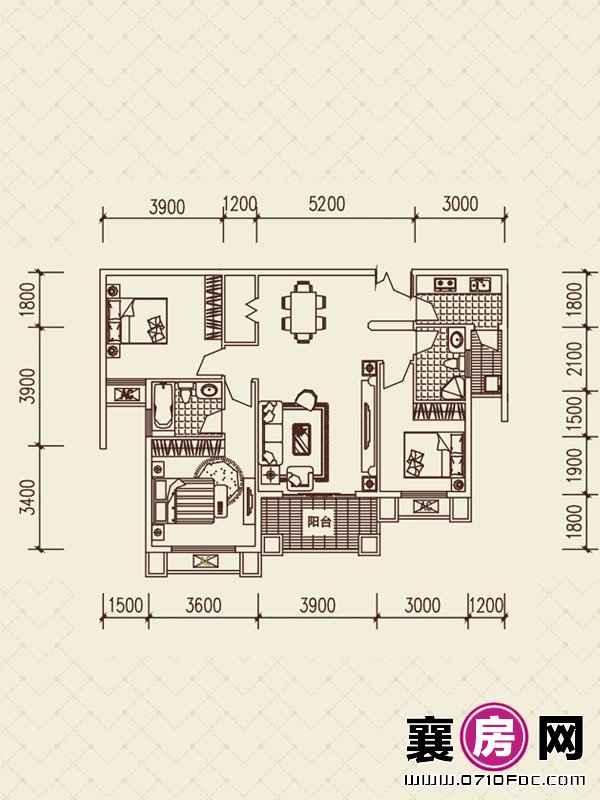 百洋·欧典H3户型 3室2厅2卫