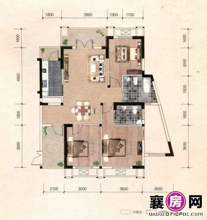 百洋·欧典双子座1#2#A2户型 3室2厅2卫1厨