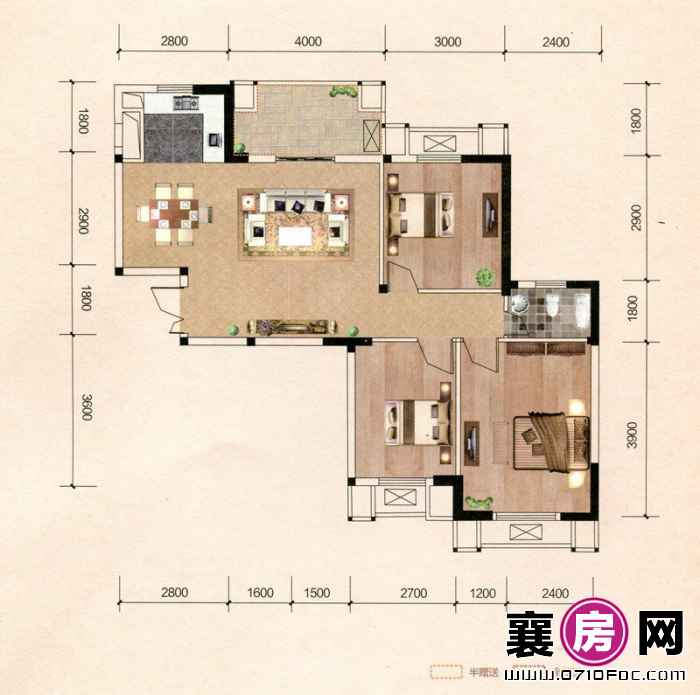 百洋·欧典双子座1#2#B2户型 3室2厅1卫1厨
