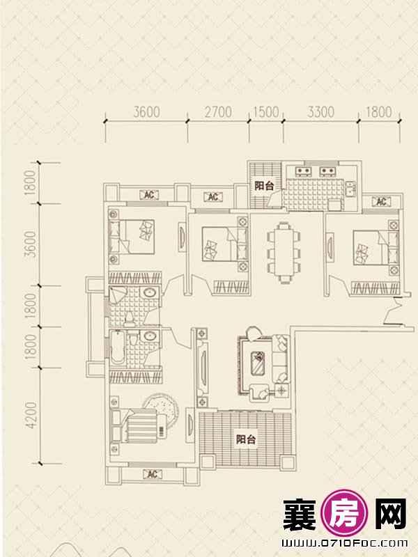 百洋·欧典D1、2户型 4室2厅2卫