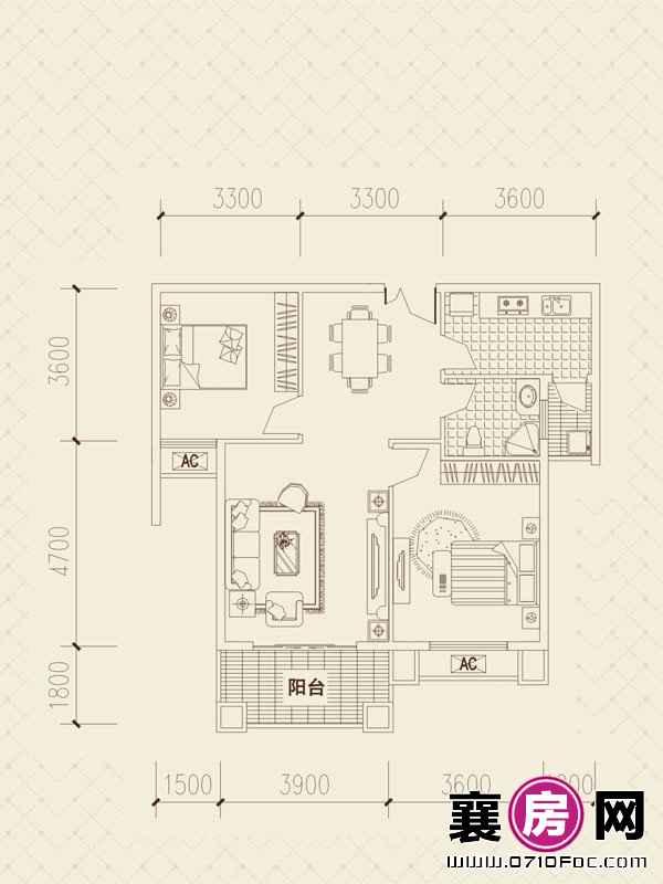 百洋·欧典D3户型 4室2厅1卫