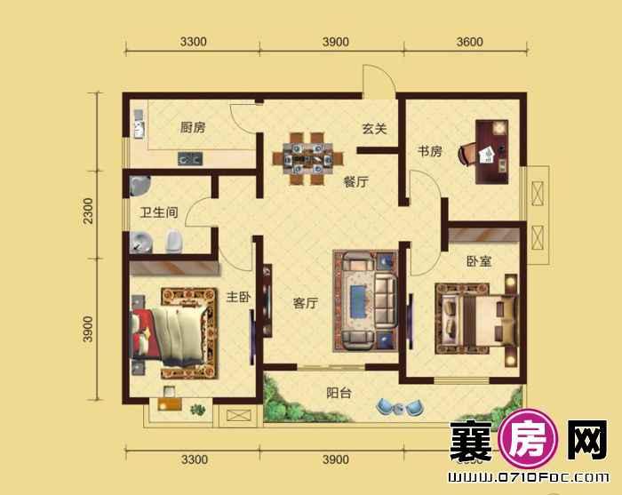 卧龙公馆5#6#楼朝南A3户型 3室2厅1卫1厨