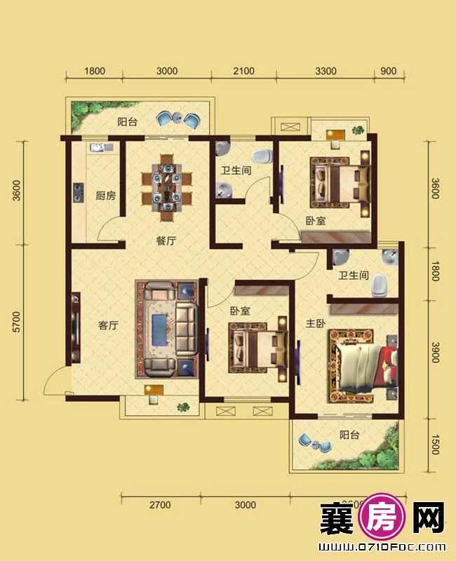 卧龙公馆5#6#楼南北朝向A1户型 3室2厅2卫1厨